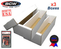 3 BCW Graded Card Shoe Storage Boxes 2 Row PSA Beckett Sport Topload / Certified