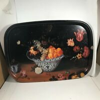 """Vintage Painted Fruit Basket Butterfly Tray 15-3/4"""" x 11"""""""