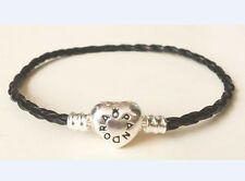1PCS Heart Clasp Black Leather Bracelets Chain Bangle Fit European Charms/Beads