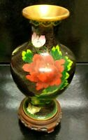 Antique Chinese Cloisonne Enamel  Flowers & Bird  Vase with Wood Stand 9.6 X 6 ""