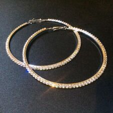 Extra LARGE 8cm HOOP Rhinestone BLING Statement EARRINGS Crystal SILVER Tone NEW