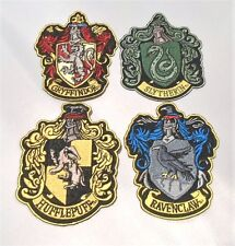 """HARRY POTTER HOUSE PATCHES (4)  X-LARGE 4 1/2"""" EMBROIDERED PATCH SET (AWESOME!)"""
