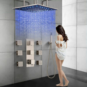"Thermostatic Shower faucet set Brushed Nickel 20"" LED Rainfall Shower Head Combo"