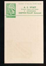 Somerset SHEPTON MALLET Mullard Valves advert c1920/30s? PPC A E Hyatt stockists