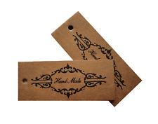 Jewellery Display Gift Tag Price Labels Kraft Brown 'Handmade' Vintage Scroll