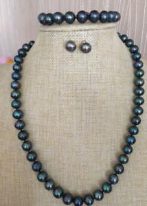 """9-10 mm Tahaitian Black Pearl Necklace earring bracelet set 14K  18"""""""