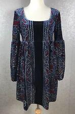 Free People SZ M Med Velvet Mini Dress Tunic Red Blue Black Peasant Sleeves