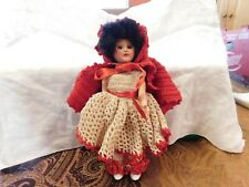 """Doll 7"""" Little Red Riding Hood Handmade Crochet Outfit Rubberband Joints Vintage"""