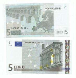 5 EURO TRICHET E SLOVACCHIA  E010... UNC E000051 .. NUMERAZIONE RARISSIMA