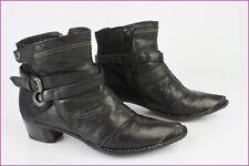 Bottines Boots TEXTO Cuir et Daim Noir T 36 TBE