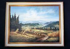 Schönes Landschaftsgemälde: Heuernte in der Pfalz. Ölgemälde, signiert SAHRISCH