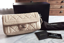 Authentic Chanel Beige/Ivory Perforated Lambskin Leather Shoulder Bag
