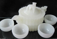 Chinese 100% Natural White Jade Hand-Carved Bamboo Teapot & 4 Cups