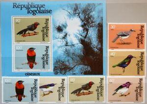 TOGO 1981 1536-41 A Block 176 1107-10 C446-C447a Birds Vögel Fauna MNH
