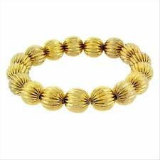 18K Gold over 925 Silver Round Textured Bead Stretch Bracelet