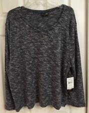 NWT Jane Ashley Long Sleeve Navy White Tweed Side Slits Knit Top Sz 2X