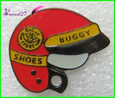 Pin's Casque de Moto BUGGY Shoes Jaune et rouge   #X