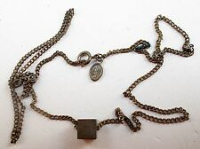 """Vintage Petite AVON Silver Cube Pendant 18"""" Chain Necklace U6"""
