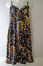 H&M Dress Sundress Floral Black Satin Women Spaghetti Strap Sz 10 US 40 EUR NWOT