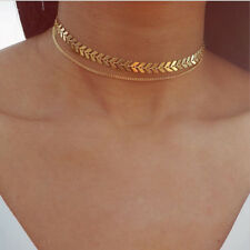 Fashion Women Gold Silver Sequins Fishbone Leaves Choker Collar Chain Necklaces