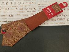 DUCHAMP Silk Tie Hankie Set Floral Gold Long Tie & Bronze P.Square BNWT RRP£90