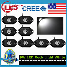 8X 3-CREE 9W LED Rock Light Lamp For Jeep Truck SUV OffRoad Boat Bright White