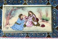 Pair of Persian Fine Persian Signed Miniature Painting Marquetry Khatam