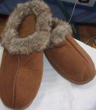 Women's size 10 Dearfoams, brown, slip on foux fir slipper