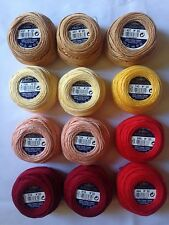 12 balls DMC Cébélia No 20. 25g 100% cotton. warm colours red, yellow  (D)