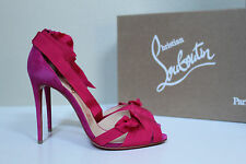 New sz 6.5 / 37 Christian Louboutin Christeriva Pink Lace up Ankle Sandal Shoes
