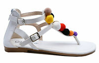 WOMENS WHITE TOE-POST GLADIATOR POM-POM FLAT SUMMER SANDALS SHOES SIZES 3-8