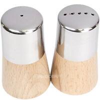 Wooden Base Stainless Steel Salt & Pepper Pots Shakers Dispensers Condiment Set