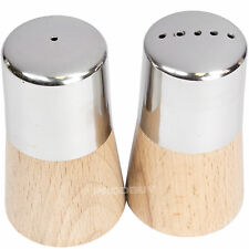 Wooden Base Stainless Steel Salt & Pepper Pots Shakers Dispensers Condiment Set