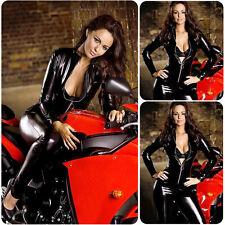 Women's Faux Leather Wet Look Zipper Catsuit Clubwear Bodysuit Jumpsuit Costume
