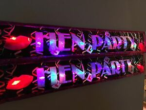 Hen party Flashing LED foil banner multi colour glows party decorations pink