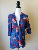 LuLaRoe Womens Lindsay Kimono Open Cardigan Floral Rose Blue Textured Size Small