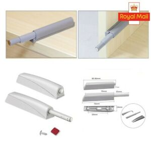 2*Drawer Door Cabinet Catch Push To Open Magnetic Tip Latch Touch Release Grey