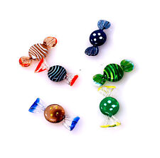 Murano style Art Glass Wrapped Candy Pieces Handmade 6 pcs assorted color