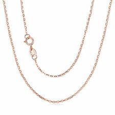 """Pure 18K Rose Gold Necklace Solid AU750 Cute Rolo Chain 1 mm 20"""" 750C002R-20"""