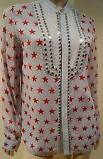 Azul Pálido Diesel 100% Seda Rojo Estampado de Estrellas y Plata Tono Camisa sin cuello Con Tachas