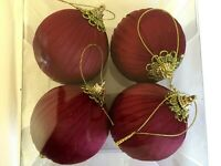 4 Burgundy Ribbon Wrapped 3 Inch Ball Shatter Resistant Christmas Ornament