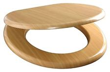 """BEECH 18"""" MDF UNIVERSAL BATHROOM WC TOILET SEAT WITH ADJUSTABLE CHROME FITTINGS"""