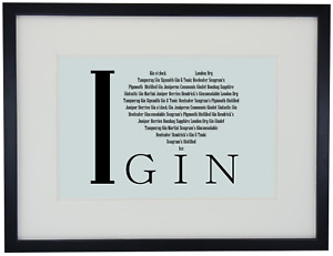 """A4 Beautiful """"I Love Gin"""" Print, Mounted or Framed Picture Gift Bar Booze Décor"""