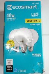 3 EcoSmart G25 40W 40 Watt Equivalent LED Globe Light Bulb Bright White Dimmable
