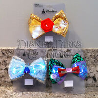 Disney Parks Interchangeable Ears Light Up Ariel Belle and Cinderella Bow Set