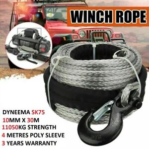 Winch Rope 10MM x 30M Dyneema Hook Synthetic Car Tow Recovery 4WD Cable AU
