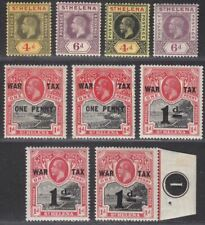 St Helena 1912-19 King George V Selection Mint SG83-88 inc War Tax Overprints