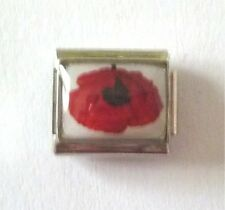 9mm  Italian Charm  P24  Remembrance Poppy fits Classic Size Bracelet