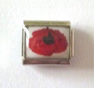 9mm  Italian Charm  P24  Remembrance Poppy fits Classic Size Bracelet