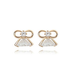 PRETTY ITALINA18K ROSE GOLD PLATED & GENUINE CUBIC ZIRCONIA CLEAR ANGEL EARRINGS